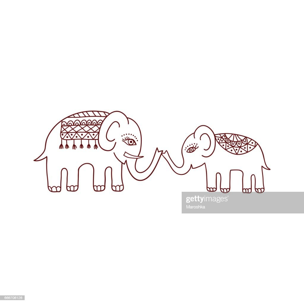 Ethnic pattern with mom and baby elephants