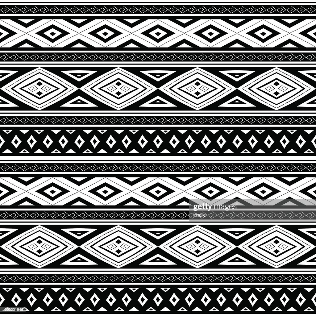 Ethnic Peruvian pattern monochrome tribal vector