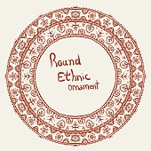 ethnic round frame, floral simple ornament
