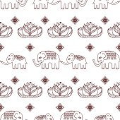 Ethnic seamless pattern with mom and baby elephants.