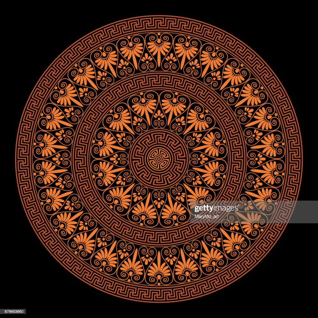 Ethnic seamless textures. Round ornamental vector shape in orange and black colors. Oriental arabesque pattern background. Brushes. Vector