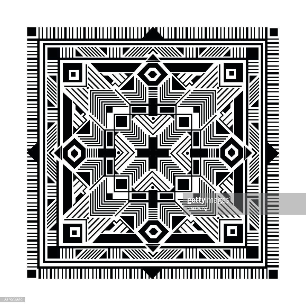 Ethnic square ornamental pattern. Tribal background, black colors on white. Boho texture for textile, card