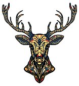 Ethnic totem of a deer. A tattoo of a deer with an ornament.