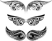 Ethnic wing tattoo set
