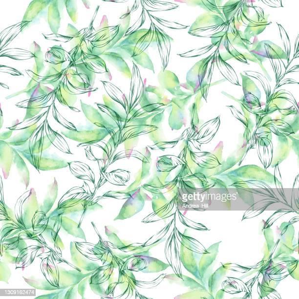 ユーカリは水彩画とインクシームレスなパターンを残します。ベクトル eps10 の図 - ユーカリの葉点のイラスト素材/クリップアート素材/マンガ素材/アイコン素材