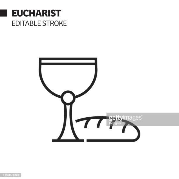 eucharist line icon, outline vector symbol illustration. pixel perfect, editable stroke. - communion stock illustrations