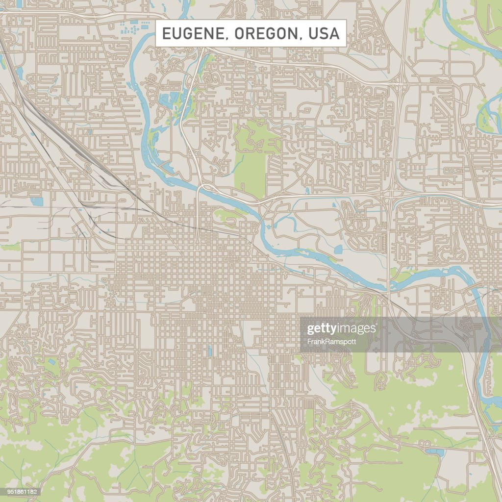 Eugene Oregon Us City Street Map stock vector - Getty Images on