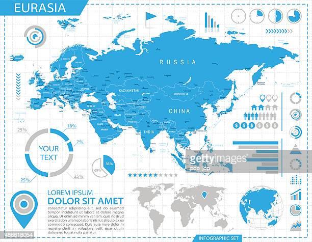 eurasia - infographic map - illustration - eurasia stock illustrations