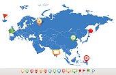 Eurasia map and navigation icons - Illustration