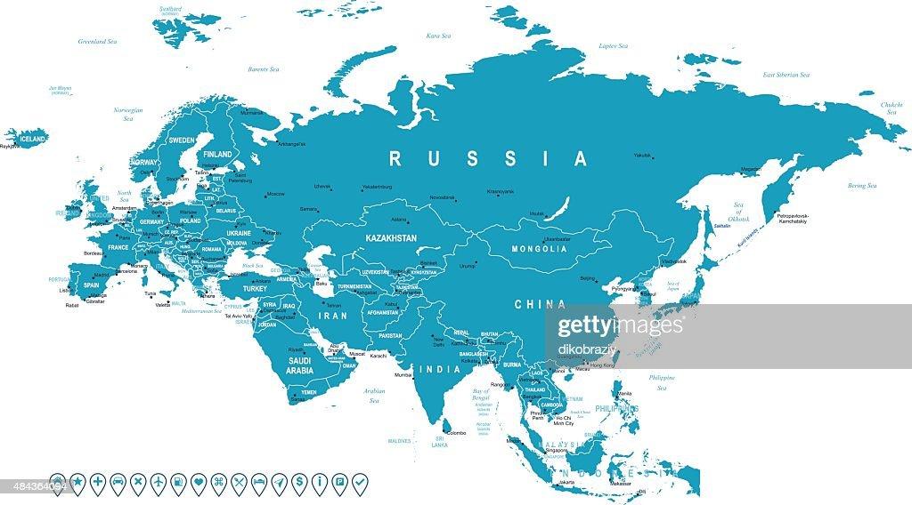 Eurasia - map and navigation labels - illustration