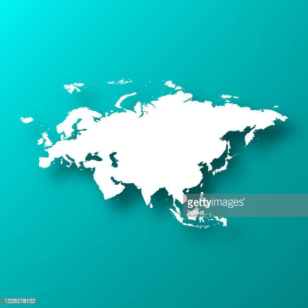 eurasia map on blue green background with shadow - eurasia stock illustrations