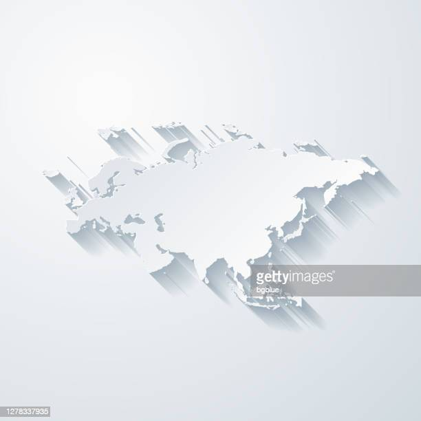 eurasia map with paper cut effect on blank background - eurasia stock illustrations