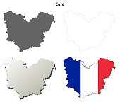 Eure, Upper Normandy outline map set