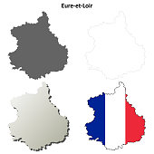 Eure-et-Loir, Centre outline map set