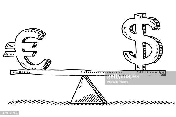 euro and dollar sign balance concept drawing - comparison stock illustrations