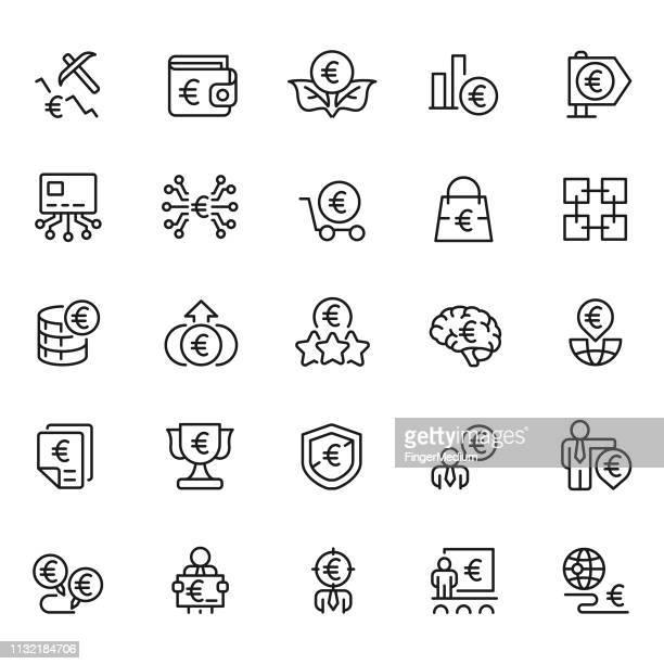 euro-und finanz-icon gesetzt - euro stock-grafiken, -clipart, -cartoons und -symbole
