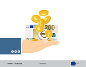 200 Euro Banknote and coins in the palm of hands. Flat style vector illustration. Finance concept.