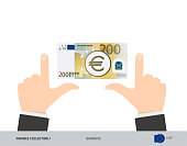 200 Euro Banknote. Business hands measuring banknote. Flat style vector illustration. Business finance concept.
