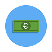 euro banknote colored icon in badge style. One of Banking collection icon can be used for UI, UX