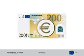 200 Euro Banknote. Flat style highly detailed vector illustration. Isolated on white background. Suitable for print materials, web design, mobile app and infographics.