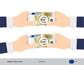 200 Euro Banknote. Group of hands tearing banknote. Flat style vector illustration. Business finance concept.