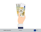 200 Euro Banknote. Hand gives money. Flat style vector illustration. Salary payout or corruption concept.