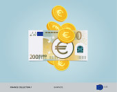 200 Euro Banknote with flying coins. Flat style vector illustration. Finance concept.