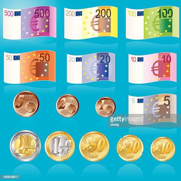 euro banknoten und muenzen - european union euro note stock illustrations, clip art, cartoons, & icons