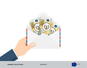 200 Euro Banknotes in envelope hold in hand. Flat style opened white envelope with cash. Salary payout or corruption concept.