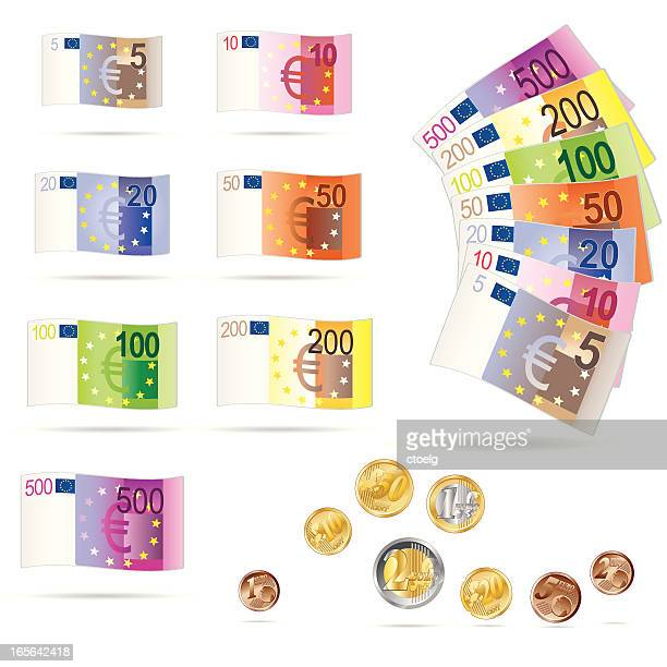 Euro bills and coins collection