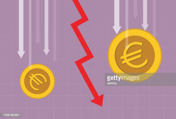 euro coin and red arrow going down - stock market crash stock illustrations