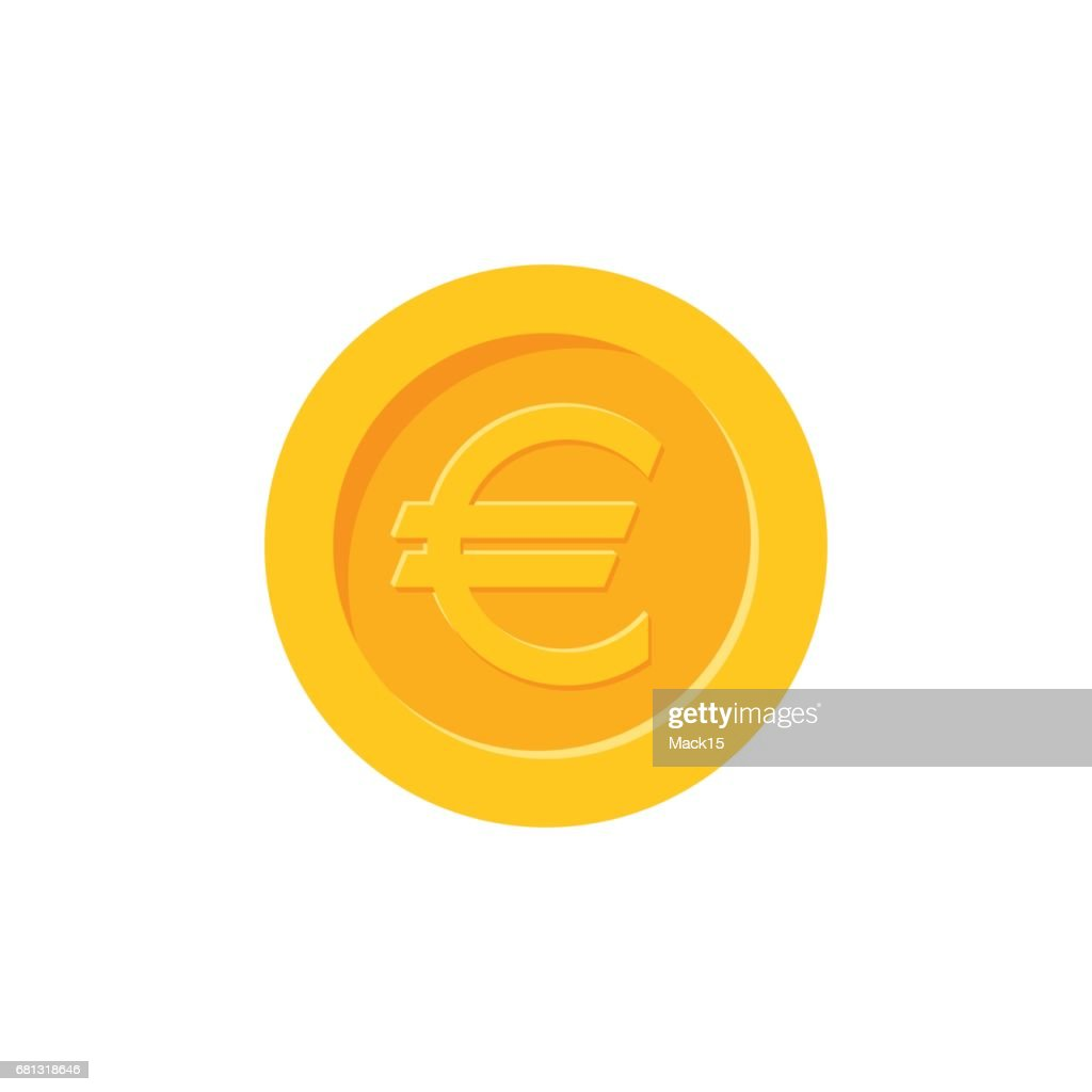 Euro coin. Flat design icon