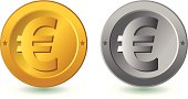 Euro coin isolated silver and gold