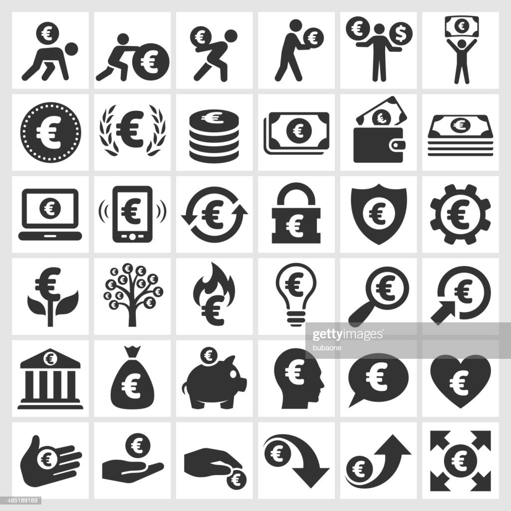 Euro Finance & Money black and white vector icon set : stock illustration