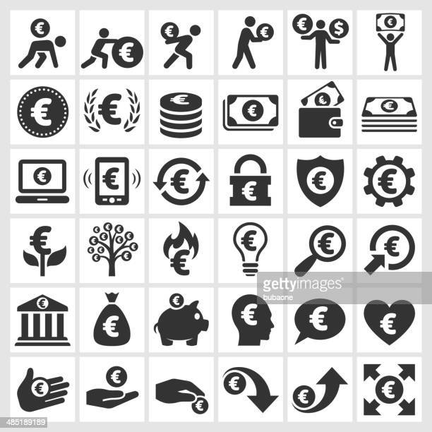 Euro Finance & Money black and white vector icon set