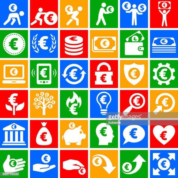euro finance & money  vector icon set on chalkboard - european union euro note stock illustrations, clip art, cartoons, & icons
