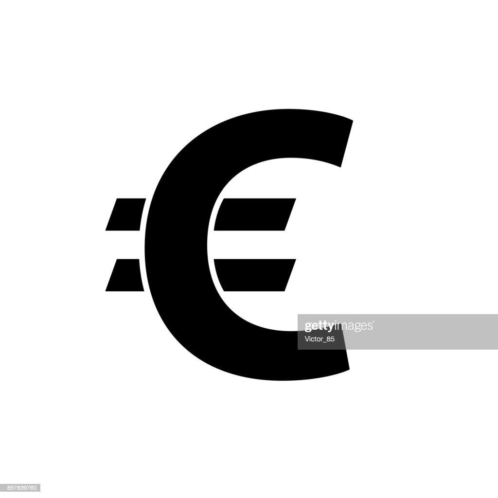 Euro icon. Black, minimalist icon isolated on white background.