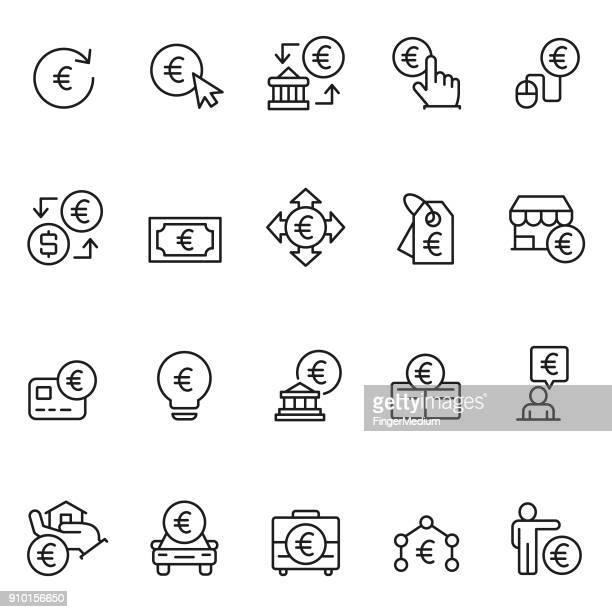 euro icon set - dividindo stock illustrations