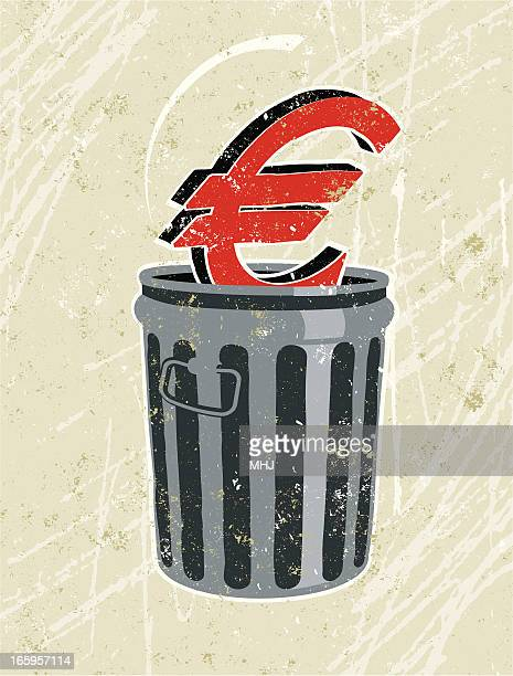 euro in a rubbish bin - money out the window stock illustrations, clip art, cartoons, & icons