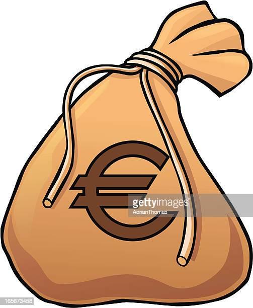 euro money bag - money bag stock illustrations