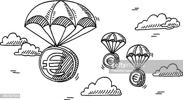 Euro Money Coin Parachute Drawing