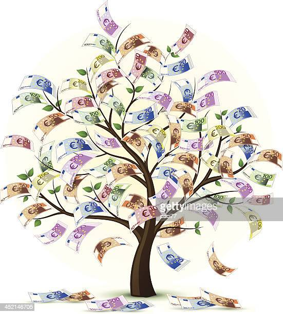 euro money tree vector - money tree stock illustrations, clip art, cartoons, & icons