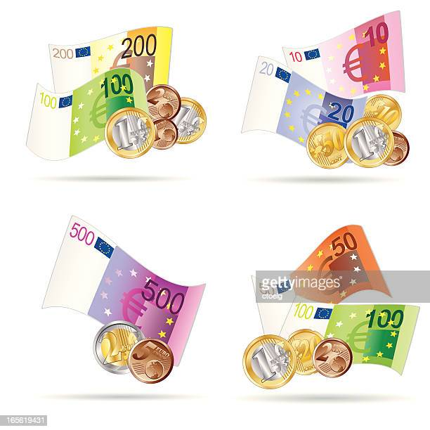euro notes and coins - european union euro note stock illustrations, clip art, cartoons, & icons