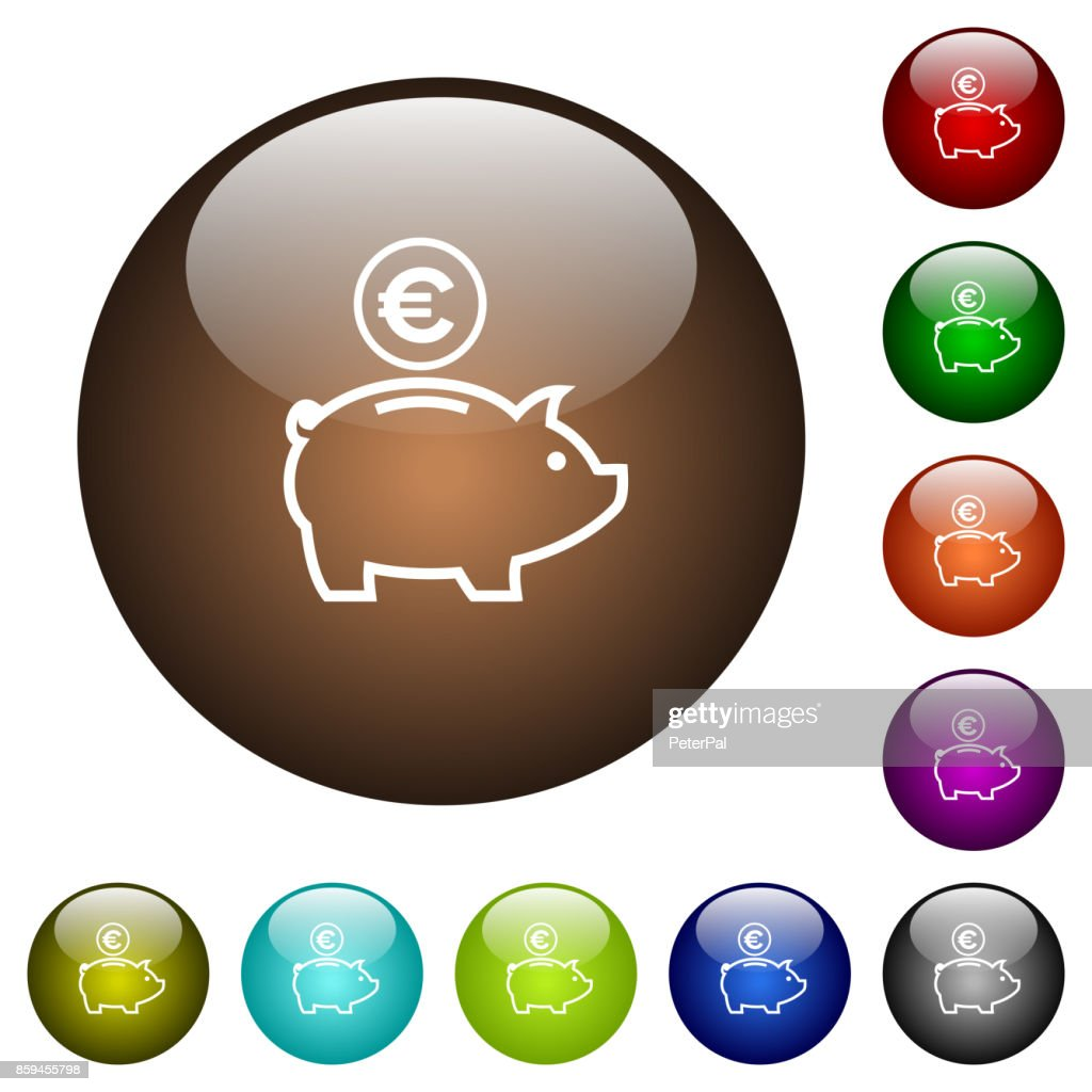 Euro piggy bank color glass buttons