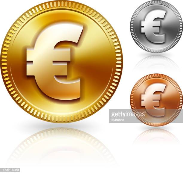 euro sign metallic currency color set - millionnaire stock illustrations, clip art, cartoons, & icons