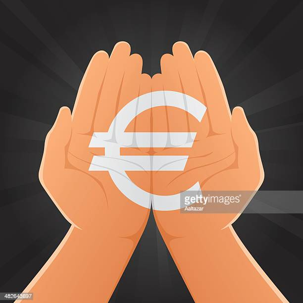 Euro Sign Painted on Hands