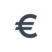 Euro Sign related vector glyph icon.