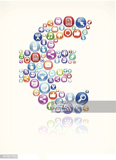 Euro Sign Social Networking and Internet royalty free vector arts