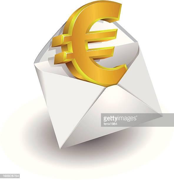 stockillustraties, clipart, cartoons en iconen met euro sign - e mail