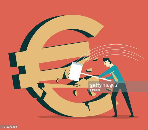 Euro Symbol being hit with a Hammer